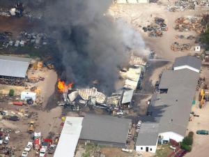 At least seven fire departments battled a fire at Foss Auto Recycling in La Grange on June 11, 2008. (Photo courtesy of SkySite Aerial Photography)