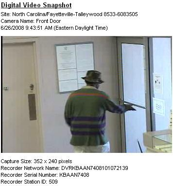 Fayetteville police released this surveillance image from a bank robbery June 26, 2008.
