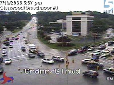 A traffic camera image of Glenwood Avenue and Creedmoor Road, near Crabtree Valley Mall, which was shut down for repairs to downed wires on Friday, July 18, 2008.