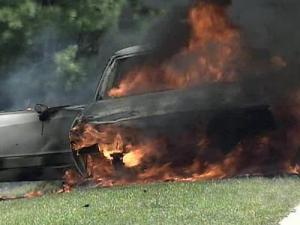 A car caught fire along Interstate 40 East near exit 312 in Johnston County on July 20, 2008.