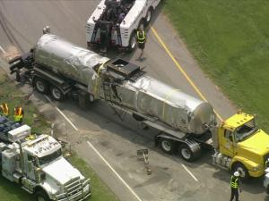 An asphalt truck overturned Wednesday, July 23, and leaked hydraulic fluid onto U.S. Highway 501 Northbound in Durham County.