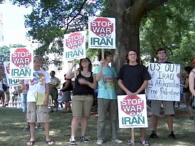 A group protesting against a possible war with Iran  demonstrated in Raleigh on Aug. 2, 2008.