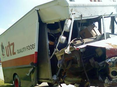 An Utz food-delivery truck was involved in a six-vehicle wreck on Interstate 540 West, near Old Millburnie Road on Friday, Aug. 8, 2008.