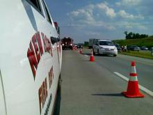 Three people were injured in a six-vehicle wreck on Interstate 540 West, near Old Millburnie Road on Friday, Aug. 8, 2008.
