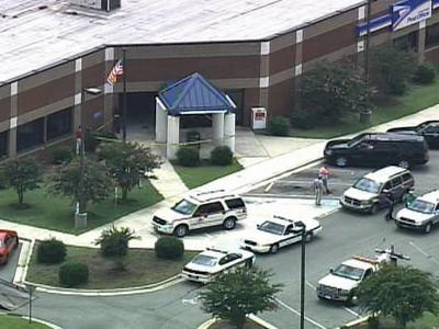 A view from Sky 5 of the scene at 1115 S. Clinton Ave. where a vehicle was lodged in the lobby of the post office on Aug. 14, 2008.