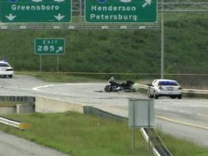 An image from a fatal motorcycle accident on U.S.-70 west near the Interstate 85 split on Aug. 30, 2008.
