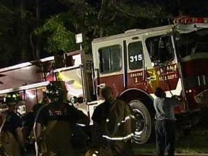 A wreck involving this Bahama firetruck injured four people in northeastern Durham Monday night.