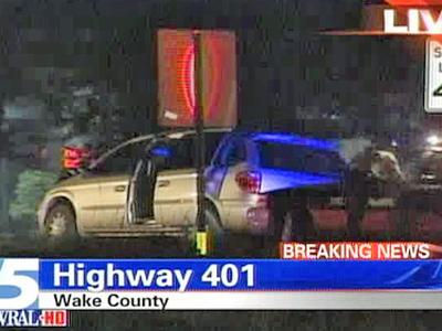 An image from an accident on U.S. 401 just south of Ten Ten Road in Raleigh on Sept. 30, 2008.