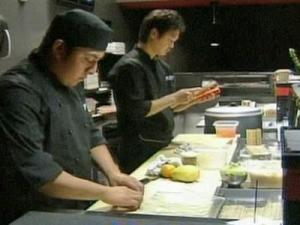 Employees at Sono in downtown Raleigh prepare sushi on Sept. 30, 2008.