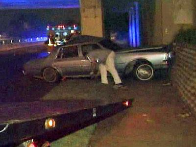 A car hit the leg of a bridge off in the 400 block of Capital Boulevard and McDowell Street in Raleigh on Oct. 10, 2008.