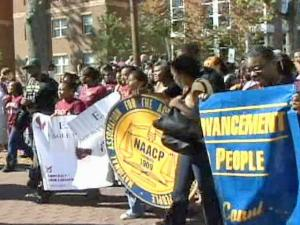 Hundreds of North Carolina Central University students and supporters marched from campus to a one-stop voting site at the old Holy Cross Church on South Alston Avenue on Thursday, Oct. 16, 2008.