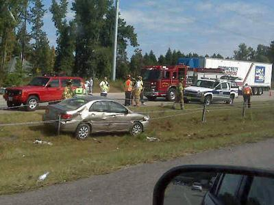 State troopers responded to a wreck along Interstate 540 near Falls of the Neuse Road on Saturday, Oct. 18, 2008. (Photo submitted by Sam Matheny)