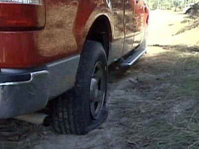 One of the cars to have its tires slashed near along Wilkes Road near Fayetteville's Crown Coliseum on Oct. 19, 2008.