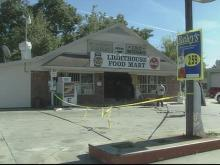 No customers were inside the Lighthouse Food Mart when a pickup truck crashed into the building.