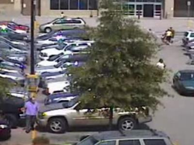 Police say the man seen in this photo wearing a purple shirt damaged a gold-colored Chevy Trail Blazer on Sept. 7.