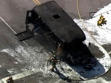Sky 5 video of Cary Transit bus fire