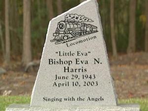 The gravestone for Eva N. Harris (aka Little Eva) in Belhaven. It was unveiled on Nov. 8, 2008.