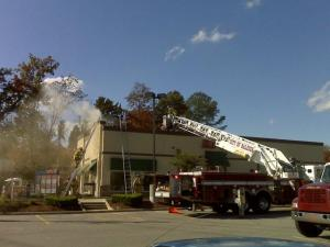 A fire broke out in the Kentucky Fried Chicken restaurant, at 3928 Western Blvd., near Kent Road, Sunday, Nov. 9, 2008.