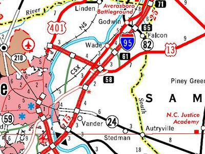 State DOT map section showing Exit/mile marker 61 in Cumberland County.