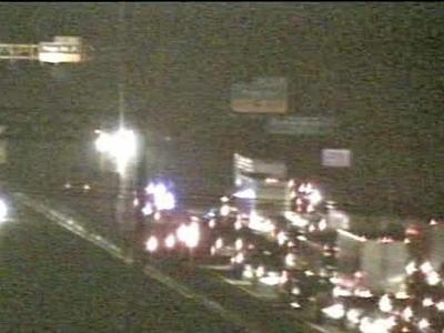 Traffic was backed up after a wreck Wednesday evening on Interstate 40 westbound near Page Road.