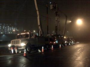 Crews were working to fix this power line in downtown Raleigh early Friday before the morning's rush hour.