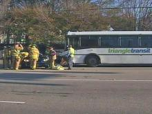 Triangle Transit Authority bus going west on Spring Forest Road ran a stop light and hit a blue BMW station wagon on the morning of Dec. 22, 2008, Raleigh police said.
