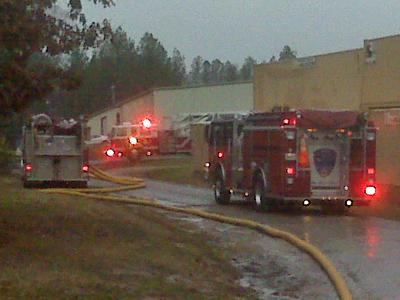 Crews were working to extinguish a fire Wednesday morning at Canyon Stone Manufacturing, 1423 Wait Ave.