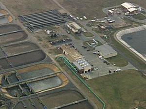 Aerial view of Raleigh waste water treatment plant