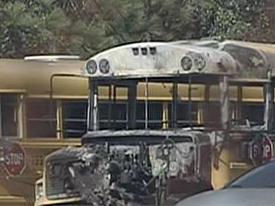 One of the school buses - parked between South View Middle School and South View High School - that were damaged during a suspicious fire in the early hours of Feb. 7, 2009.