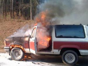 An SUV burned along Interstate 40 eastbound Wednesday morning.