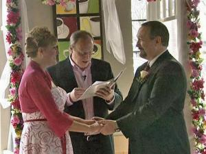 A pastor married Laura Strain and Allan Tortorice at a Starbucks restaurant, 1217 Kildaire Farm Road in Cary, Feb. 14, 2009. They met in the store in March 2008, when Strain spilled coffee on Tortorice.