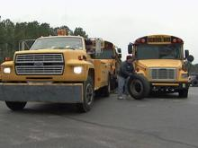 Vandal(s) let air out of the tires of these Lee County school buses.