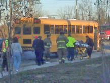 One child was injured Tuesday morning after this Jeep Cherokee crashed into the back of a Wake County school bus on N.C. Highway 55 in Apex.