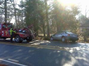 A driver crashed at 10224 Baileywick Road in Raleigh Thursday morning.