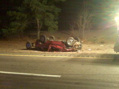 Speed might have been a factor in this crash on Interstate 40 near Wade Avenue early Wednesday that left a woman dead, according to Highway Patrol officials.