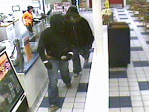 Fayetteville Police released surveillance photos of two men who robbed Jersey Mike's restaurant, 5815 Yadkin Road, shortly after 8:30 p.m. Thursday, March 5.