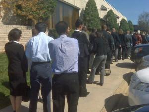 Job seekers line up outside the Hilton North Raleigh.