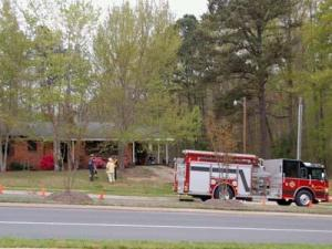 An electrical problem caused this house fire on Holly Springs Road at Sunset Lake Road Monday, April 13, 2009. No one was injured. (Photo by Brook Heyel)