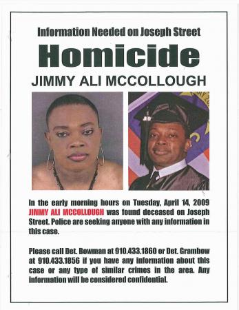 Flier distributed by Fayetteville police seeking information in the April 14, 2009, slaying of Jimmy Ali McCollough.
