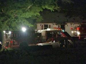 Firefighters were on the scene late Thursday of a fully-involved fire at 6406 Russell Road.