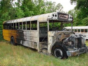 A Sampson County school bus caught fire on May 4, 2009. (Photo courtesy of Sampson County Schools)