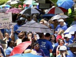 The North Carolina Association of Educators held a rally in downtown Raleigh on May 16, 2009 to protest pay cuts and potential threats to public school funding.