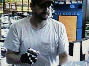 A man believed to be Jeremy Crispell is seen on surveillance video at the J & S Quick Stop.