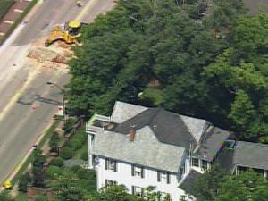 Crews working on Chatham Street in Cary hit a gas line Tuesday.