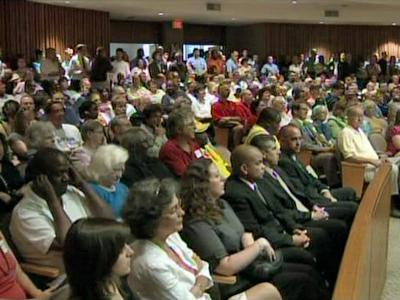 Organizations representing city workers packed a public hearing Tuesday evening to protest the fiscal 2009-10 budget.