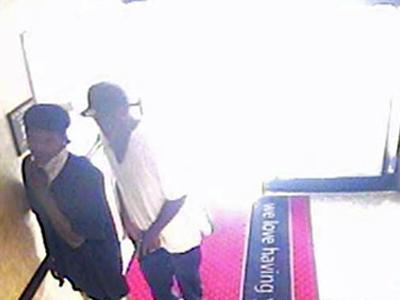 A surveillance image from the Hampton Inn at 905 N. Spence Ave. in Goldsboro shows two suspects in an attempted robbery on June 11, 2009.