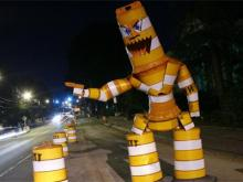 "North Carolina State University student Joe Carnevale first captured local and national attention with his ""barrel monster,"" a humanoid figure made of construction materials that spoofed traffic diversions on Hillsborough Street."