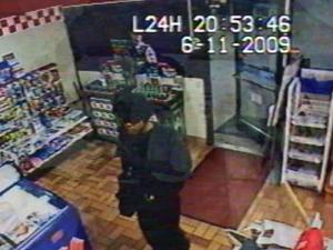Police released this surveillance photo of a suspected robber in a Fayetteville convenience store.