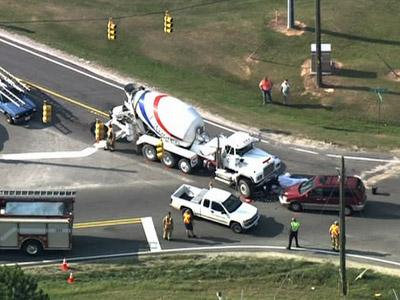 Sky 5 flew over a wreck Tuesday on N.C. Highway 42 and Rock Service Station Road.