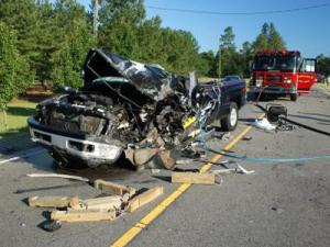One of two vehciles involved in a fatal wreck along N.C. Highway 211 on July 4, 2009. (Submitted by Frank Staples)